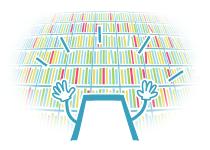 スマホくんが沢山の本がある本棚に喜んでいるイメージ